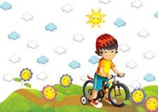 Barnet på cykeln Royaltyfri Fotografi