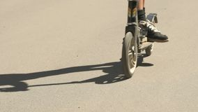 Barnet rider en sparkcykel i en sommar parkerar Närbild stock video