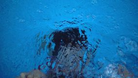 Barnet simmar i simbassäng