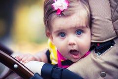 Barnet sitter i en vagn Arkivfoto