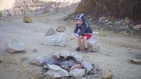 Barnet sitter vid branden, trycker på branden med en pinne stock video