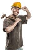 Barnet smutsar ner arbetarmannen med hjälmen för den hårda hatten som rymmer en hammare Royaltyfri Foto
