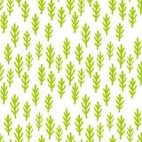 Barnet som drar gulliga växter, gräs den sömlösa modellen Den gröna felika skogen förgrena sig bakgrund Tapettryck stock illustrationer