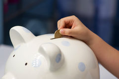 Barnet som sätter en mynta in i piggy, packar ihop Arkivbilder
