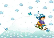 Barnet som spelar i vintern Royaltyfri Bild