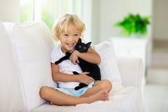 Barnet som spelar med, behandla som ett barn katten Unge och kattunge royaltyfri fotografi