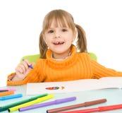 barnet tecknar royaltyfri foto