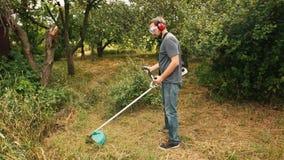 Barnet uppsökte mannen som klipper grönt gräs i fruktträdgård med radbeskäraren arkivfilmer