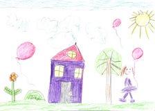 Barnets teckning av en lycklig familj på går utomhus arkivfoton