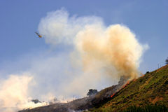 Barnett Fire. Brush fire in Ventura, California. The fire consumed 25 acres and was quickly controlled by more then 100 firefighters and water dropping Stock Image