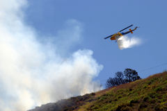 Barnett Fire. Brush fire in Ventura, California. The fire consumed 25 acres and was quickly controlled by more then 100 firefighters and water dropping Stock Photo