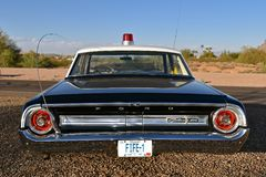 Barney Fife Deputy Ford Car. MESA, ARIZONA, February 5, 2018: The Sheriff of Mayberry 64 Ford Galaxy car with Fife license plates replicates the televison show Stock Photo