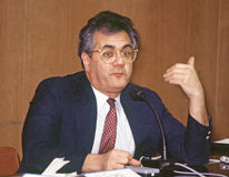 Barney Frank. A youthful-looking Barney Frank is seen making a point at the International Conference of Jewish Parliamentarians in Jerusalem on January 5, 1988 Stock Photo