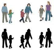 barnföräldersilhouettes Arkivbild