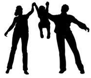 barnfamilj upp vektor Arkivfoto