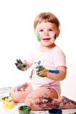 barnfingermålning fotografering för bildbyråer