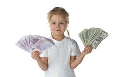 barnflicka little pengar royaltyfria bilder