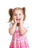 Barnflicka med den isolerade framsidan för händer nästan Royaltyfri Foto