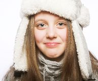 Barnflicka med vinterkläder Arkivfoton