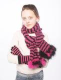 Barnflicka med vinterkläder Royaltyfria Bilder