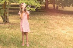 Barnflicka som spelar med såpbubblor Arkivfoto