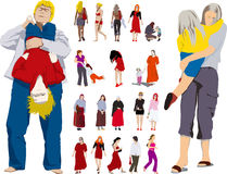 barnflickakvinna royaltyfri illustrationer