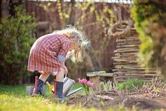 Barnflickan i vårträdgårdlekar och bevattnahyacint blommar Royaltyfria Bilder