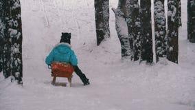Barnflickan på träsläden går ner från en snöig kulle sörjer in Forest Slow Motion lager videofilmer