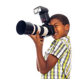 Barnfotograf med den yrkesmässiga kameran Royaltyfri Fotografi