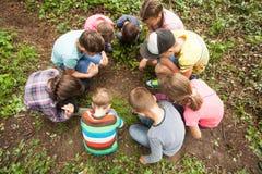 barngyckel som har utomhus- Arkivfoto