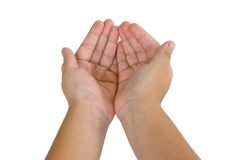 Barnhand som isoleras på vit Fotografering för Bildbyråer