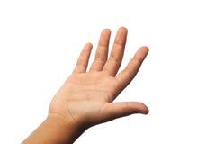 Barnhanden visar numret fem på vit bakgrund Royaltyfri Fotografi
