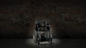 Barnhandikappbegrepp: brun nallebjörn i rullstol Royaltyfria Bilder
