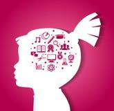 Barnhuvud med utbildningssymboler Arkivfoto