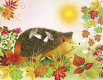 barnillustration s Nedgångbakgrund Igelkottbjörnarna på en baksida plocka svamp bland höstsidor Fotografering för Bildbyråer