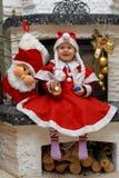 barnjul lyckliga santa Arkivbild
