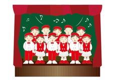 Barnkörgrupp - julmusikhändelser vektor illustrationer