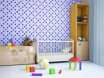 Barnkammare med en säng Arkivfoto