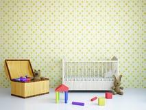 Barnkammare med en säng Royaltyfri Bild