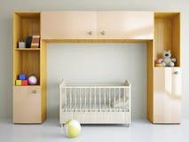 Barnkammare med en säng Royaltyfri Fotografi