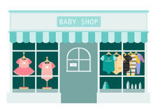 Barnkläder shoppar, shoppar och lagrar symboler, vektorillustration royaltyfri illustrationer