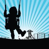 Barnkontur som är gullig på gunga i lekplatsillustration stock illustrationer