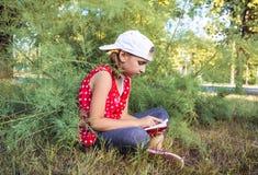 Barnläsebok eller bibel utomhus Gullig liten flicka som läser bibeln royaltyfri foto