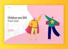 Barnlek i sida för Superherodräktlandning Lyckliga små teckenvänner från elementärt för Website eller webbsida royaltyfri illustrationer