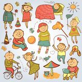 Barnlek med leksaker stock illustrationer