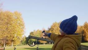Barnlek på lekplats i höst parkerar Kameran följer pysen Sista dag av bra väder arkivfilmer