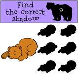 Barnlekar: Finna den korrekta skuggan Litet gulligt behandla som ett barn björnen royaltyfri illustrationer