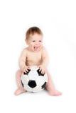 Barnlekar med en soccerball Arkivbilder