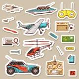 Barnleksakkonstruktör Tappningflygplan, fartyg, skepp och bil, RC-transport, fjärrkontrollmodeller Klistermärkear för vektor illustrationer