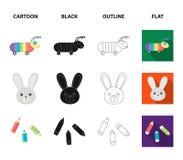 Barnleksaktecknad film, svart, översikt, plana symboler i uppsättningsamlingen för design Rengöringsduk för materiel för lek- och Arkivfoton